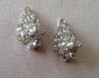 Vintage Signed Weiss Rhinestone Clip Earrings Bridal Wedding Jewelry