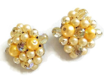 Vintage Yellow Crystal and Glass Beaded Clip Earrings