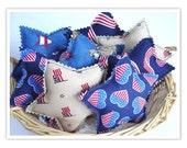 8 Americana star bowl fillers, Americana Decor, Americana Decorations, Fabric Stars, Fabric Star Decorations