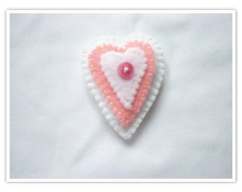 "Heart Pin with button, 2""wide and 2 1/2"" long, valentine heart pin, valentine pin, valentine jewelry, felt valentine, felt pin"