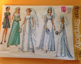 BRIDE or Bridesmaid or Prom Dress Simplicity Sewing Pattern 8737