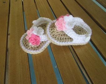 Crochet Baby Shoes Sandals Flip Flops Handmade Pinks