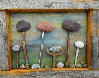 Rock Garden art Assemblage, reclaimed Barnwood frame with Beach Rocks, Found Object Salvage Art, Rustic decor for your cabin, or home