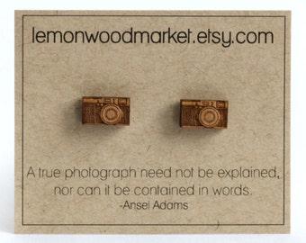 Camera earrings - alder laser cut wood earrings