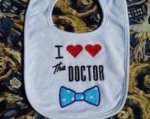 Doctor Who Baby Bib, Embroidery/Applique Unique Baby Gift