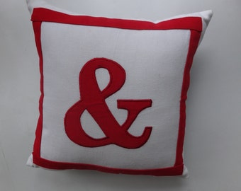 ampersand throw pillow in  white with  red &. Custom  made cushion cover. Choose  your  colours 14inch.
