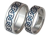 Celtic Titanium Wedding Band Set - His and Hers - Matching Rings - stck10