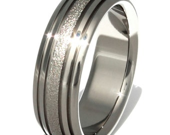 Titanium Wedding Ring - Frost Band with Stripes- f4