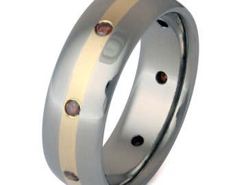 Cognac Diamond Ring-Titanium Wedding Band-18kt Gold Inlay - s8