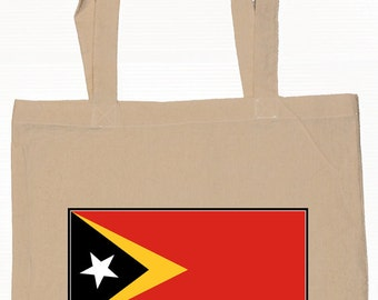 East Timor  Flag Tote Bag  6 Oz 100% Cotton Grocery Shopping Books 2 Designs