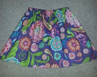 Girls Purple Floral Skirt ANY Size 18m 24m 2T 3T 4 5 6 7 8 9 10