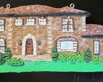 Custom Home Ornament  - Modern House - Landscape Detail