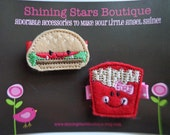 Felt Hair Clips - Hair Accessories - Embroidered Felt Hamburger And Fries Hair Clippie Set For Girls