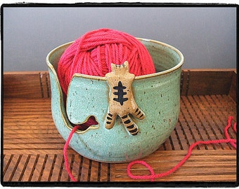 Second Sale-Yarn Bowl with Cute Tabby Cat in Turquoise by misunrie