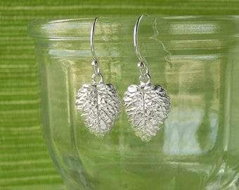 Small Lemon Balm Leaf Earrings - Silver Dangle Leaf Earrings, Pure Silver Real Leaf, Herb Jewelry, Gardeners Gift