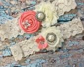 Light Coral /  YOU  DESIGN / over 50 colors / wedding garter set  / bridal  garter/  lace garter / toss garter / vintage lace garter