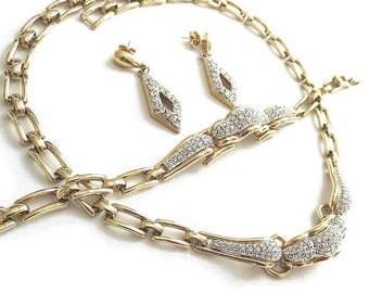Rhinestone Bib Necklace, Bracelet, and Earrings Set Vintage Clear ICE Pave