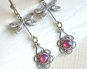 Silver Dragonfly Earrings - Dragons Breath Glass Opals, Filigree Earrings, Dragonfly Jewelry