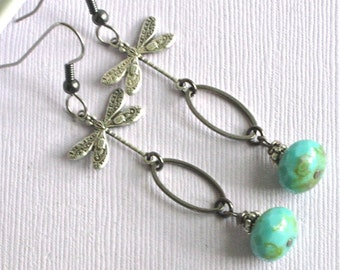 Silver Dragonfly Earrings -  Turquoise, Mixed Metal, Gunmetal, Dragonfly Jewelry