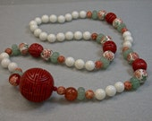 Vintage Chinese Cinnabar Red Bead Knotted Necklace, Antique Carnelian Beads,Aventurine,White Chalcedony,Vintage Chinese Porcelain