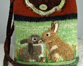 Felted Purse,felted tote,Bunnies kissing, bunny art,rabbit art