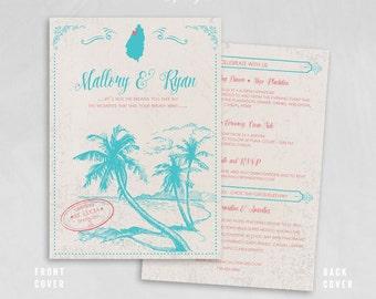 St. Lucia Destination Wedding Invitation - Folded invitation - St. Lucia Map, Palm Tree, RSVP postcard