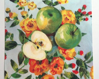Folk art PRINT of acrylic painting- Still life of Apples and flowers /  wall art- wall decor- home decor art print - yellow