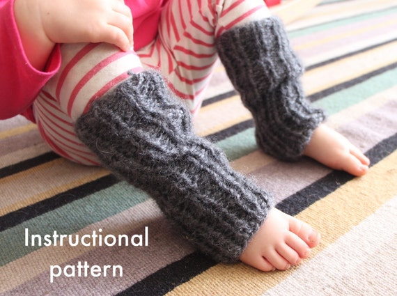 Baby and toddler knit legwarmers pattern PDF