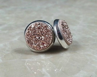 """1/2"""" (12mm) Round Rose Gold Copper Druzy Drusy Post Stud Earrings in Silver Colored Bezel Cup Setting with Nickel Free Titanium Posts"""