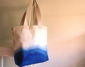 Indigo Dipped Canvas Shopper / Tote / Shoulder Bag with Cotton Webbing Straps