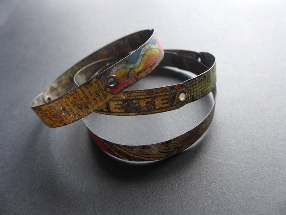 Bricolage 2. Riveted tin bangles. Set of three. Salvaged colorful vintage.