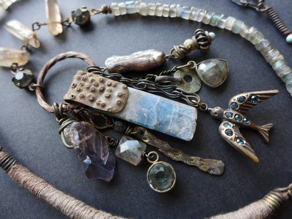 Gokotta. Rustic assemblage grey blues victorian tribal necklace.