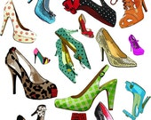 high heel shoes collage clip art png digital download background graphics fashion beauty art wrapping paper