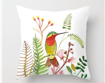 Humming Bird Pillow Cover, Throw, Print from Original work