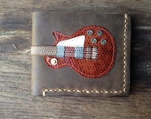 New item!! Hand Stitch Men Wallet Gibson les paul Snakeskin vintage brown color