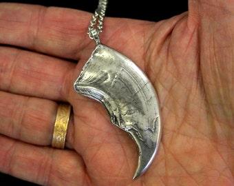 Polar Bear Claw Necklace Silver Polar Bear Claw Statement Pendant Necklace 446