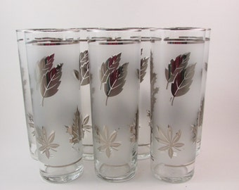Vintage Libbey Glass Tall Iced Tea Glasses Silver Leaf Pattern Set of Seven