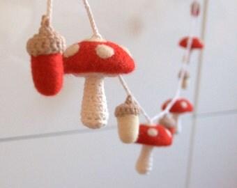 Woodland Mushrooms acorns garland felted wool crochet red white Alice in Wonderland decoration Waldorf toy woodland nursery decor