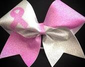 Breast Cancer Awareness Pink Glitter Silver Hologram Cheerleader Cheer Hair Bow