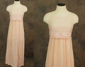 vintage 60s Night Gown - Pink Sheer Full Nightgown 1960s Lingerie Sz XS 32