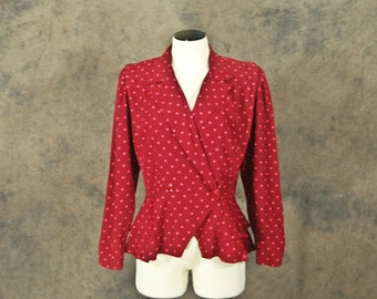 CLEARANCE Sale vintage 80s Peplum Blazer -1980s Red and Pink Polka Dots Jacket Sz L