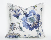 Blue Floral Pillows, Cream Blue Green Pillow Covers, Jacobean Flowers Pillow, Natural Colors, Cream Navy Tan Sage, Coastal Decor, 18x18