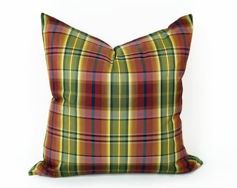 Country Plaid Pillow Cover, Red Green Plaid Throw Pillow, Purple Red Green Pillow, Plaid Cushion, 12x18 Lumbar, 18x18,  SALE