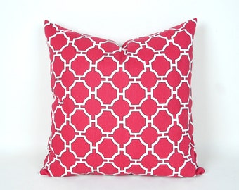 Pink White Pillow Cover, Pink Lattice  Pillows, Pink Throw Pillows, Geometric Pillow, Zipper Pillow, Lumbar, 12x18, 16, 18, 20, 26, SALE
