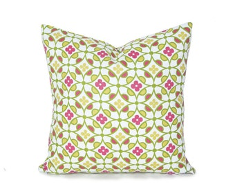 Geometric Pillow Covers, Graphic Pillow, Modern Floral, Pink White Green Yellow Flowers, Decorative Throw Pillow SALE, 20x20