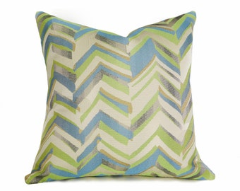 Blue Green Chevron Pillows, Decorative Pillow Covers, Turquoise Chartreuse Gold Pewter, Toss Cushion Covers, 12x18, 18x18, 20x20