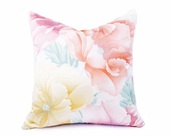 Pastel Floral Pillow Cover, Lemon Peach Pillow, Asian, Vintage Japanese, Peony Flowers, Zen Pillows,  Lilac Pink Coral Cream, 20x20, 22x22