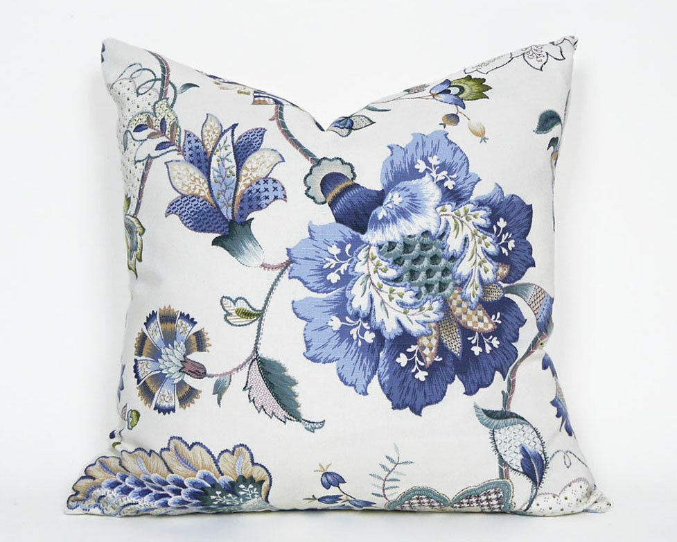 Blue Floral Pillows Cream Blue Green Pillow Covers Jacobean