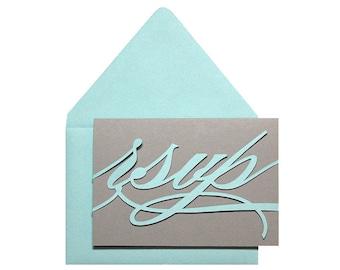Monogram RSVP Cards - blue, response, tiffany, script, cutout, laser