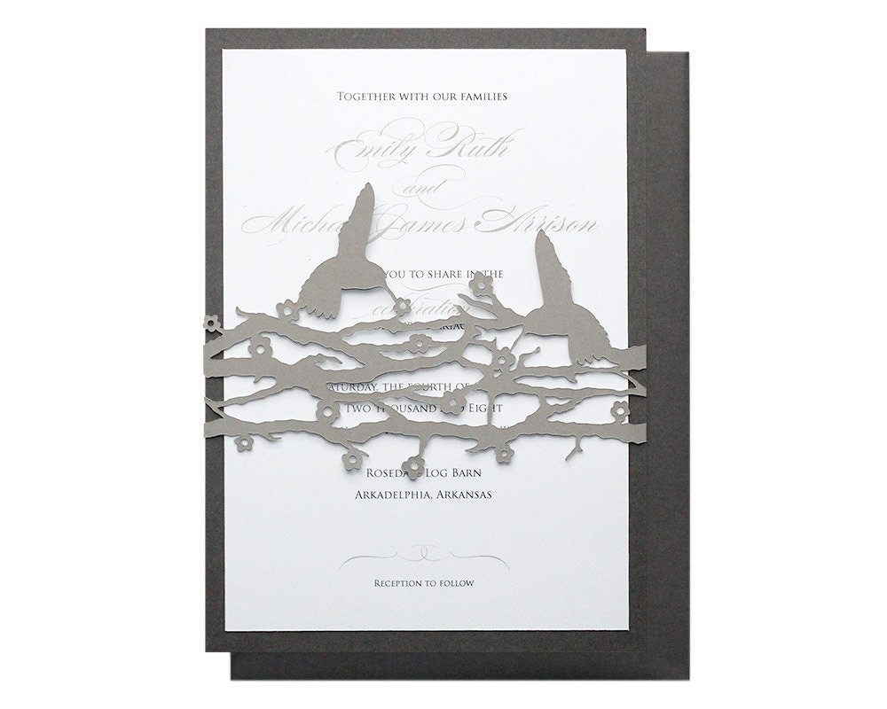 Hummingbird Wedding Invitations: Hummingbird Wedding Invitations Slate Gray Black By